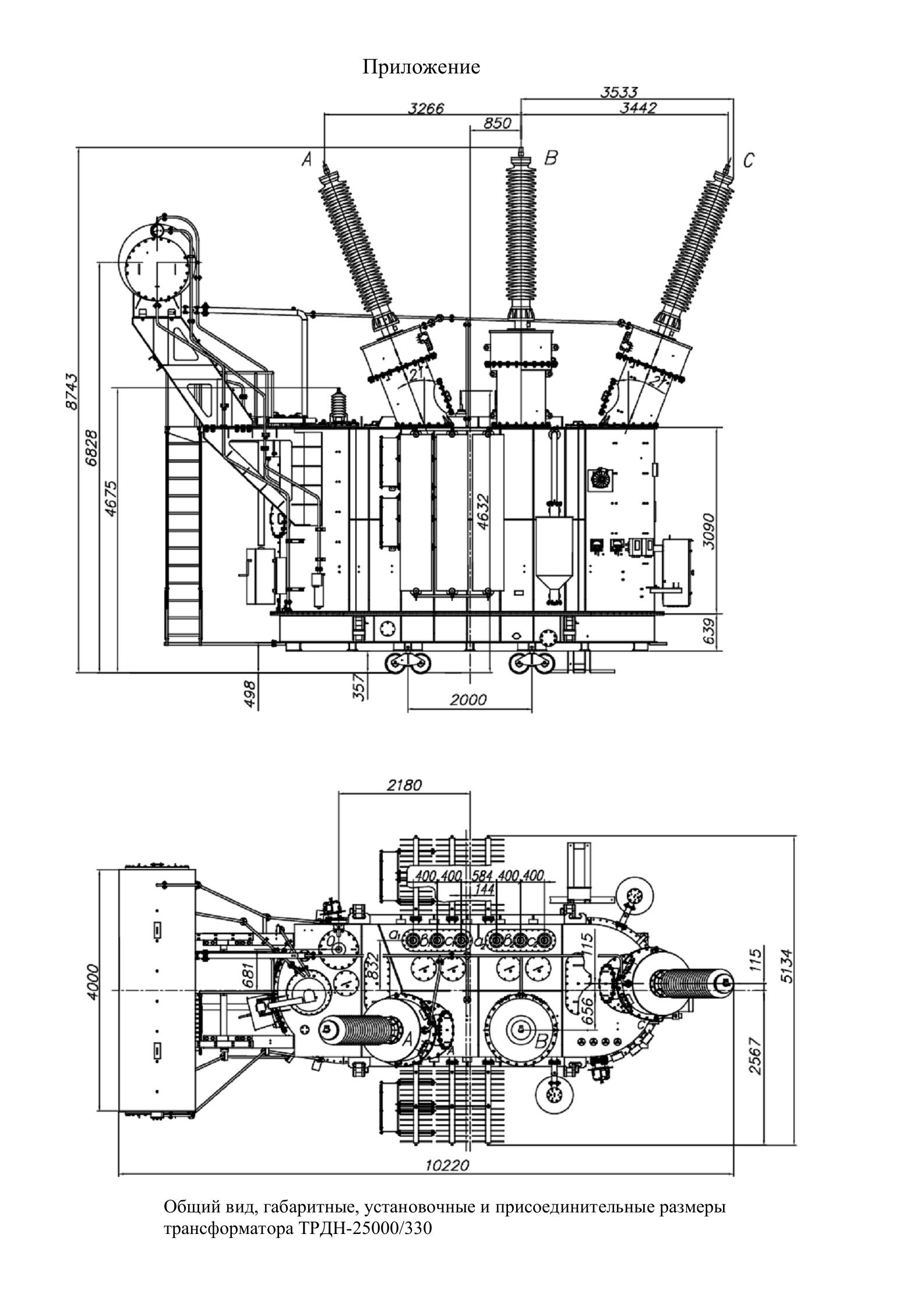 Трансформатор трехфазный двухобмоточный масляный класса напряжения 150 - 330 кВ