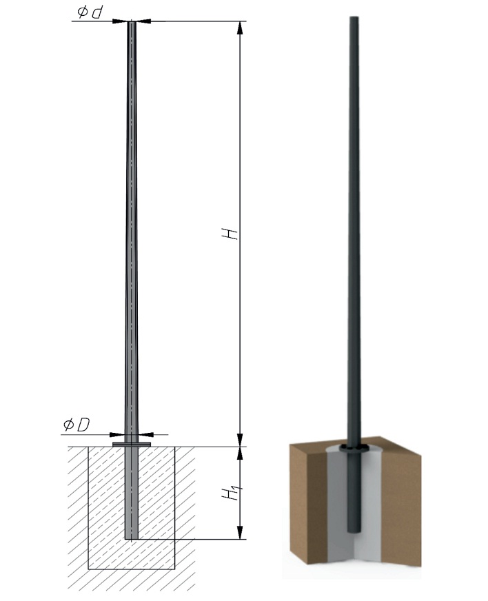 Металлическая граненая коническая силовая опора освещения на фланцевом соединении