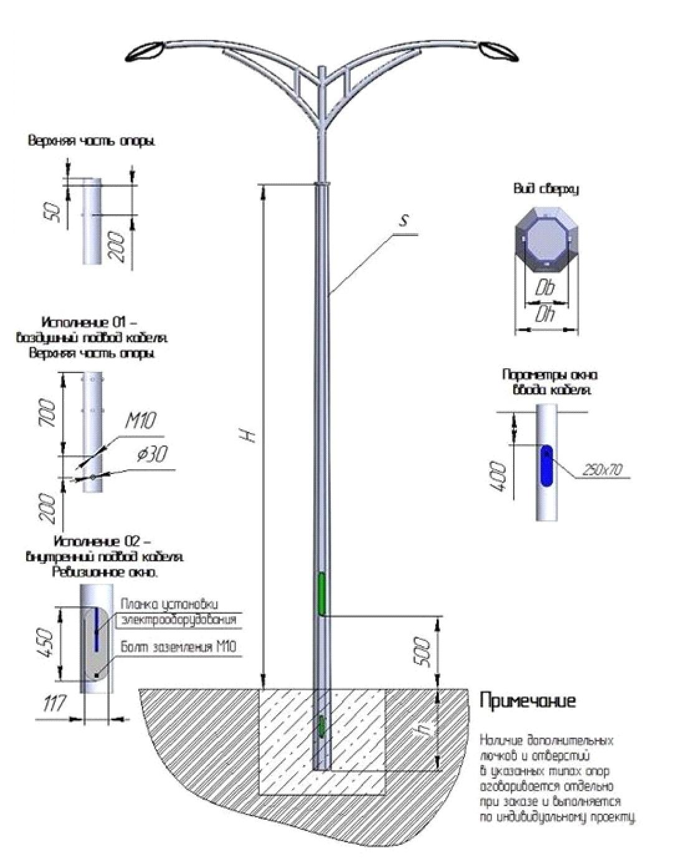 Многогранная металлическая опора освещения